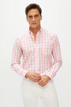 Cortefiel Camisa de xadrez vichy de algodão orgânico extra suave Vermelho