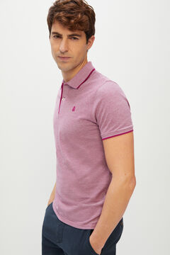 Cortefiel Oxford fabric short-sleeved polo shirt Plum