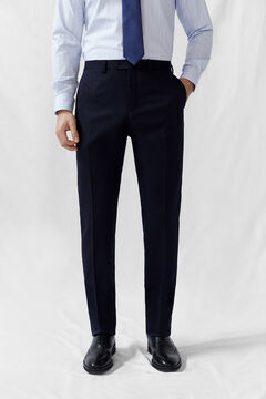 Cortefiel Plain tailored fit COOLMAX® trousers Navy