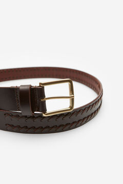 Cortefiel Woven leather strap belt Fuchsia