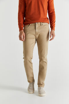 Cortefiel Slim fit 5-pocket coloured COOLMAX® ECOMADE ALL SEASON trousers Mink