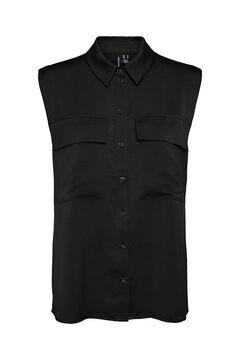 Cortefiel Sleeveless satin T-shirt Black