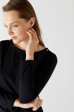 Cortefiel Essential puffed sleeve T-shirt Black