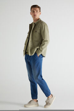 Cortefiel Cotton overshirt Khaki