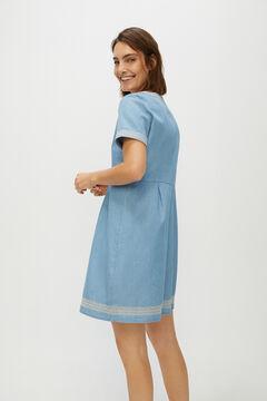 Cortefiel Embroidered denim tunic dress Royal blue