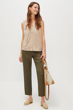 Cortefiel Slim fit Tencel trousers Dark gray