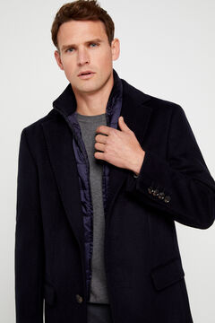 Cortefiel Herringbone coat with removable lining Navy