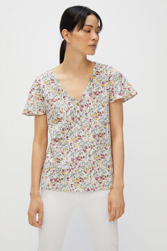 Cortefiel Basic t-shirt with buttons Yellow