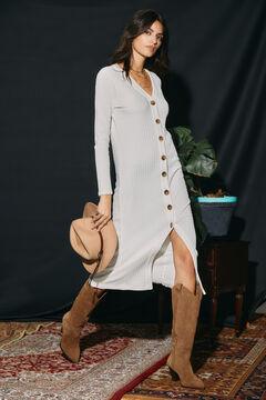 Cortefiel Jersey-knit structured dress Ecru