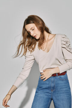Cortefiel Jersey-knit top with puffed sleeves Ecru