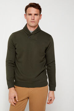Cortefiel Shawl neck jumper Green