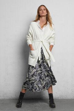 Cortefiel Printed satin midi skirt Natural