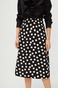 Cortefiel Polka-dot midi skirt Natural
