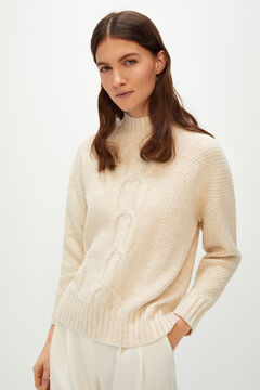 Cortefiel Aran mock turtleneck jumper Ecru