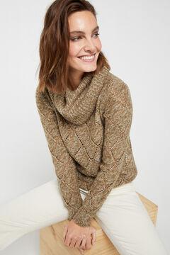 Cortefiel Multi-yarn openwork jumper Green