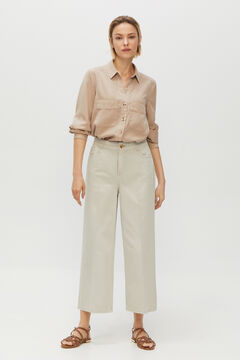Cortefiel Cropped coloured denim palazzo trousers Stone