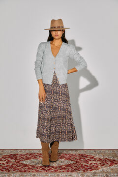 Cortefiel Printed layered skirt Blue