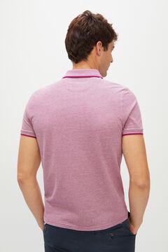 Cortefiel Oxford fabric short-sleeved polo shirt Plum
