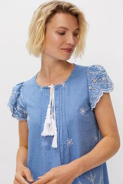 Cortefiel Embroidered denim dress Blue