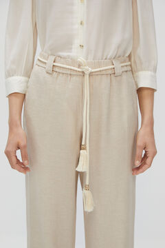 Cortefiel Casual linen trousers Brown