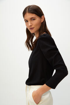 Cortefiel Pleated buttoned t-shirt Black