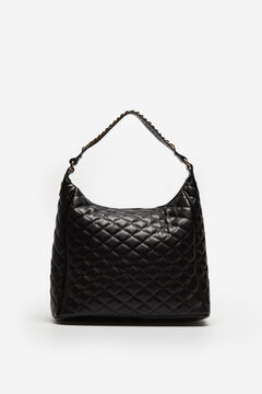 Cortefiel Quilted slouch bag Black