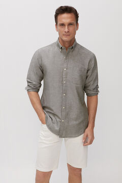 Cortefiel Plain linen and cotton shirt Green