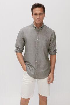 Cortefiel Camisa lisa algodón lino Verde