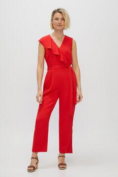 Cortefiel Crossover flounced jumpsuit Redgarnet