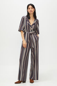 Cortefiel Printed jersey-knit jumpsuit Pink