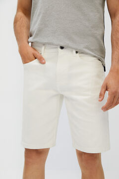 Cortefiel Denim Bermuda colour shorts 5 pockets White