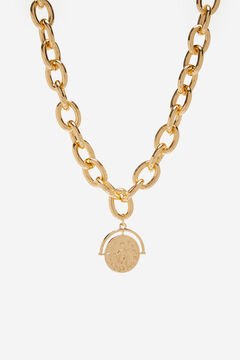 Cortefiel Chain necklace with coin Beige