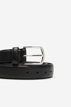 Cortefiel Embossed leather belt Dark brown