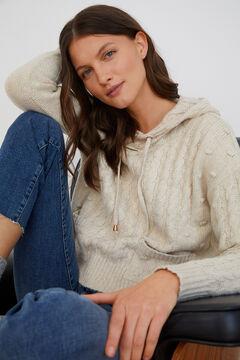 Cortefiel Textured hooded jumper Ecru