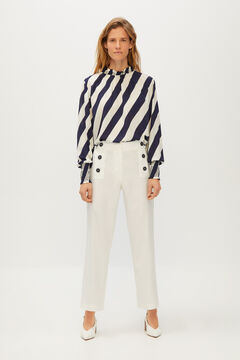 Cortefiel Trousers with sailor buttons White