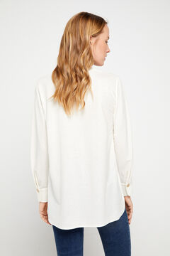 Cortefiel Blusa confort manga comprida Branco