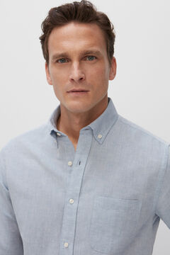 Cortefiel Camisa lisa algodón lino Azul