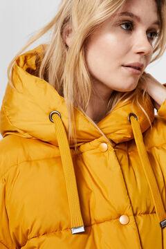 Cortefiel Short down coat with hood Pistachiogreen
