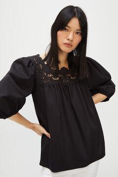 Cortefiel Lace neckline top Black