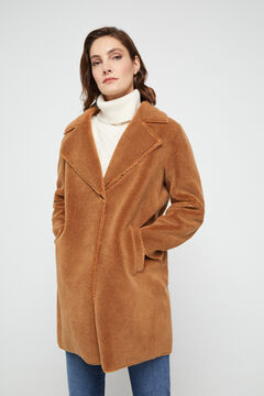 Cortefiel Double-faced faux shearling coat Stone