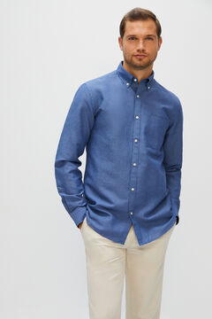 Cortefiel Plain linen and cotton shirt Blue