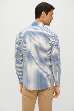 Cortefiel Striped seersucker shirt Blue jeans