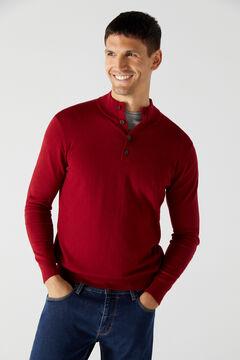 Cortefiel Cotton/cashmere trucker neck jumper Redgarnet
