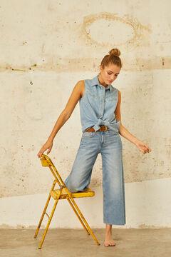 Cortefiel Camisa vaquera sin mangas anudada Azul