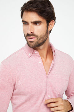 Cortefiel Long-sleeved shirt Fuchsia