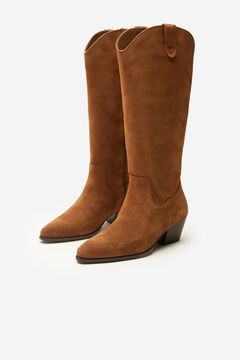 Cortefiel Leather cowboy boot Brown