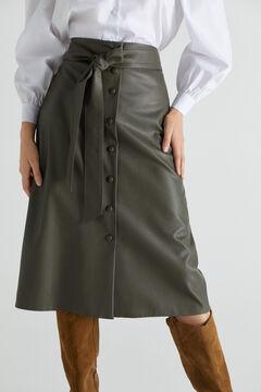 Cortefiel Faux leather skirt Dark gray