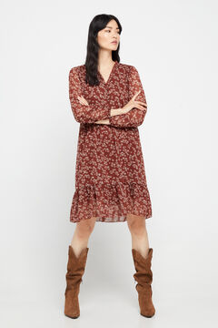 Cortefiel Long-sleeved printed short dress Kaki