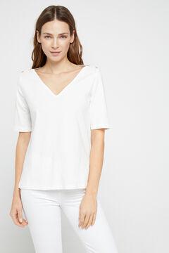 Cortefiel Essential organic cotton V-neck t-shirt White