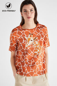 Cortefiel Printed organic cotton t-shirt Beige